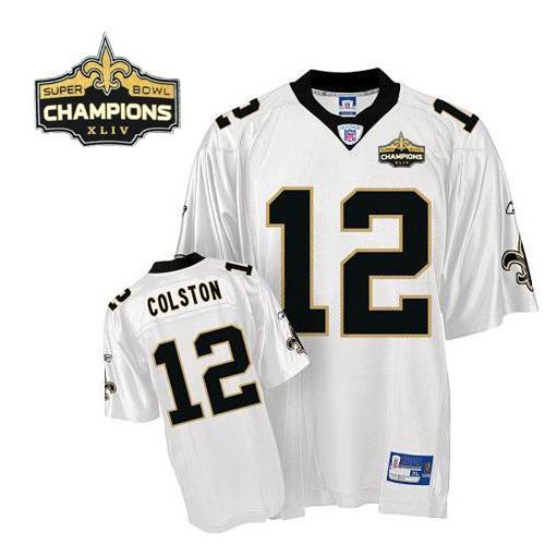 Saints #12 Marques Colston White Super Bowl XLIV 44 Champions ...