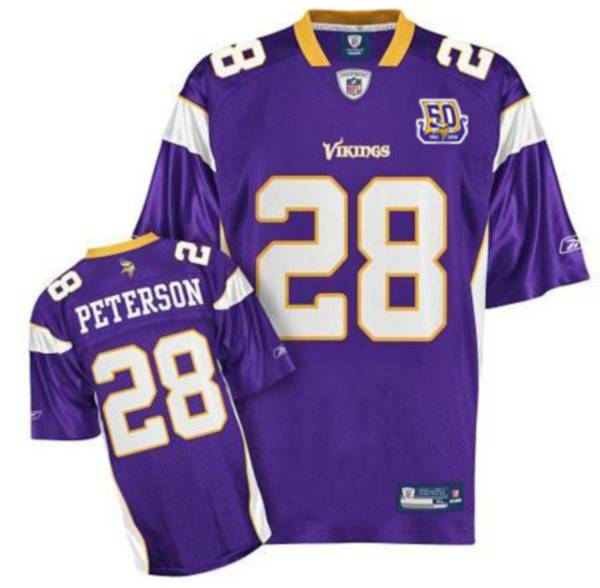 Vikings #28 Adrian Peterson Purple Team 50TH Patch Stitched NFL ...